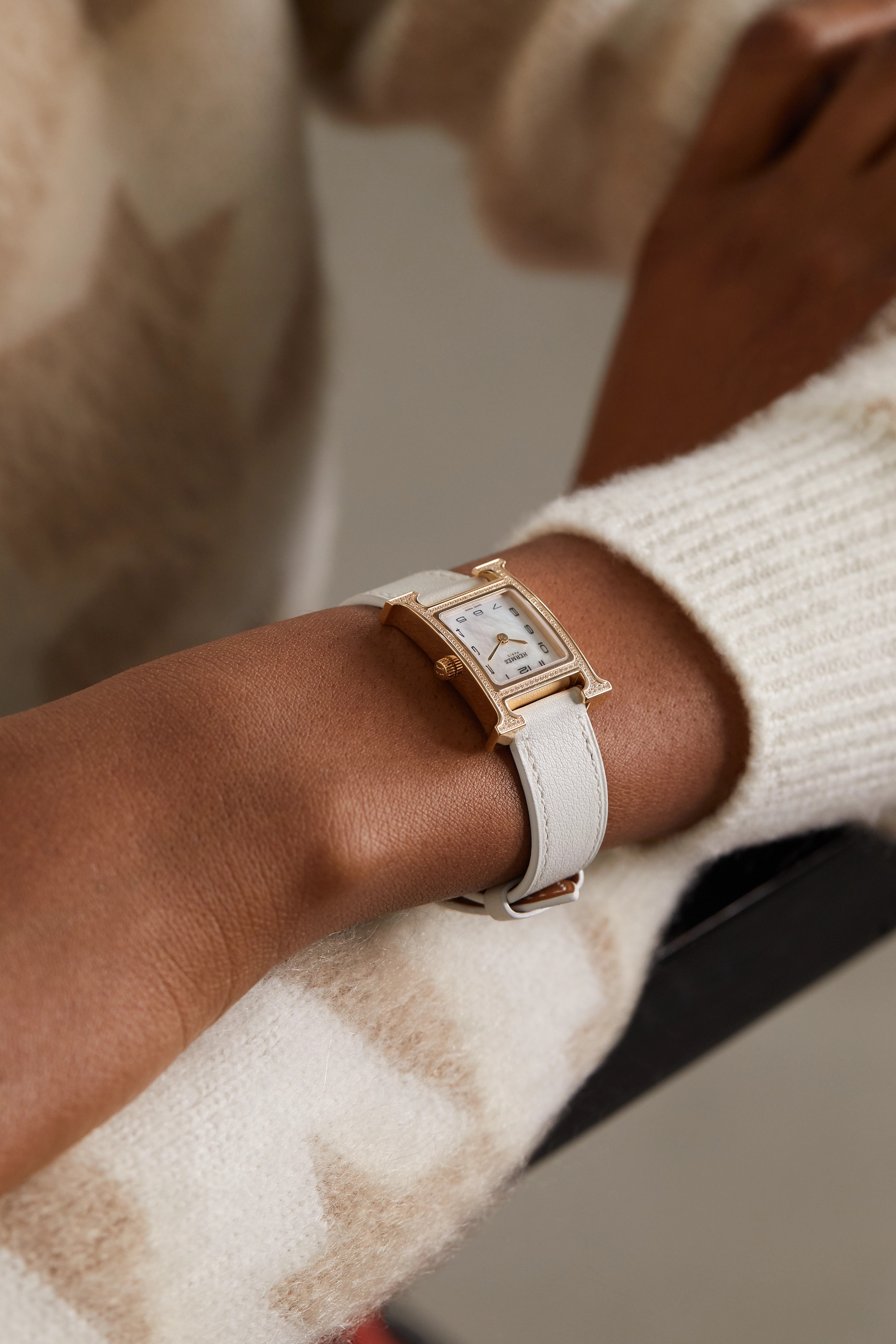 Hermès Timepieces Heure H 21mm small 18-karat rose gold, leather, mother-of-pearl and diamond watch