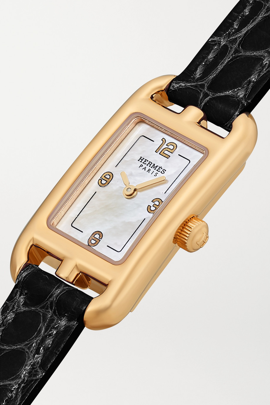 Hermès Timepieces Nantucket 17mm very small 18-karat rose gold, alligator and mother-of-pearl watch