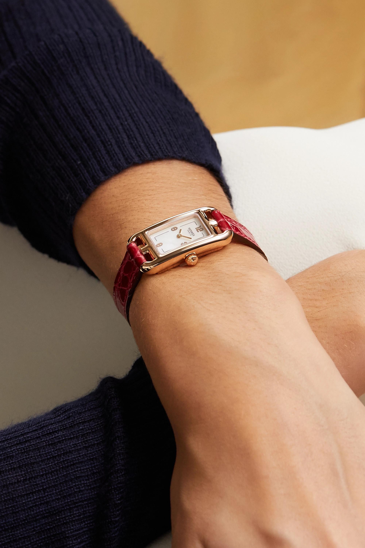 Hermès Timepieces Nantucket 17 毫米 18K 玫瑰金珍珠母超小号腕表(短吻鳄鱼皮表带)