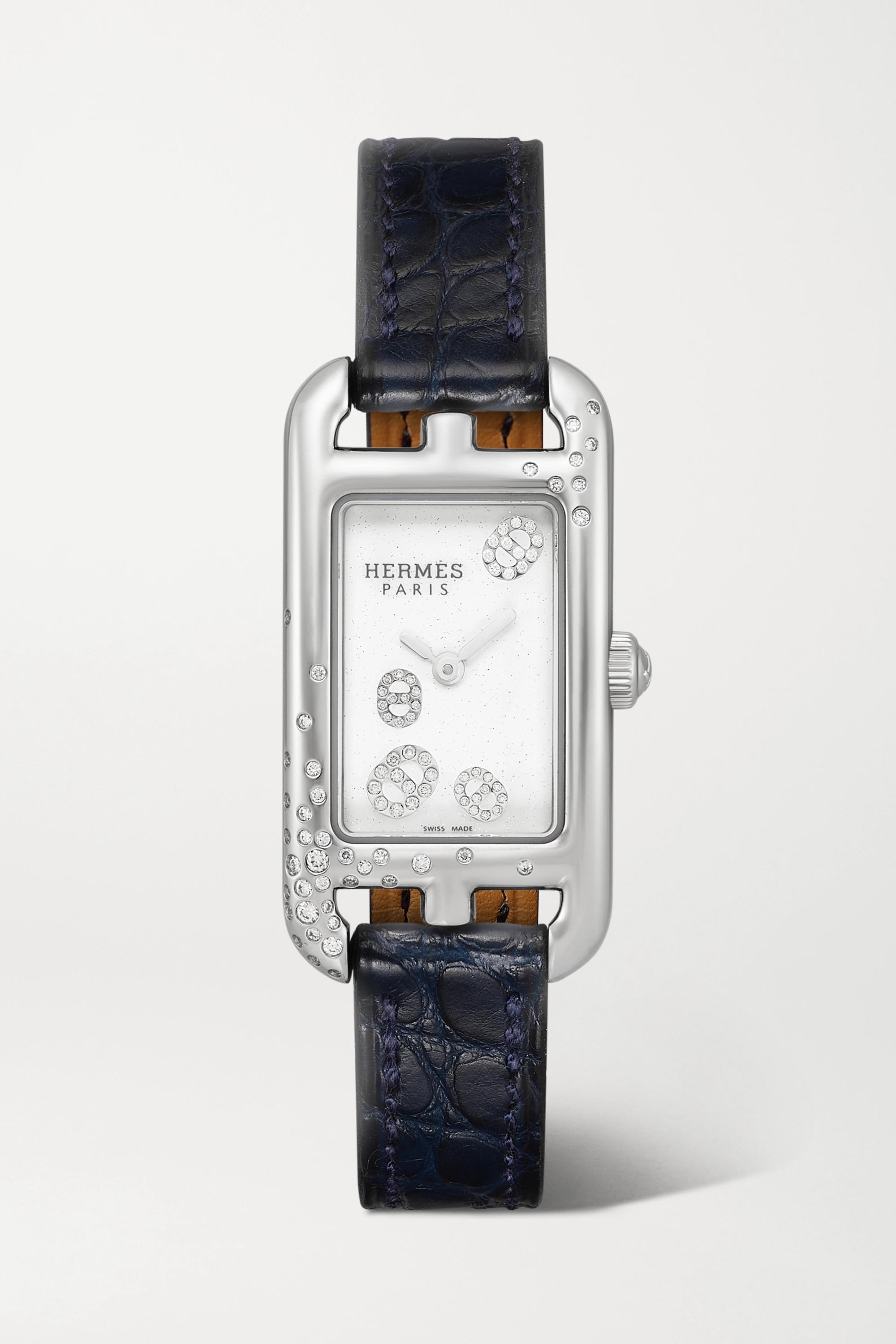 Hermès Timepieces Montre en acier inoxydable et diamants à bracelet en alligator Nantucket Very Small 17 mm