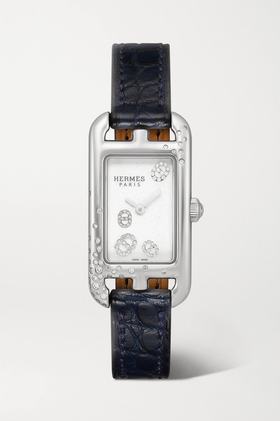 Hermès Timepieces Montre en acier inoxydable et diamants à bracelet en alligator Nantucket Very Small 17 mm