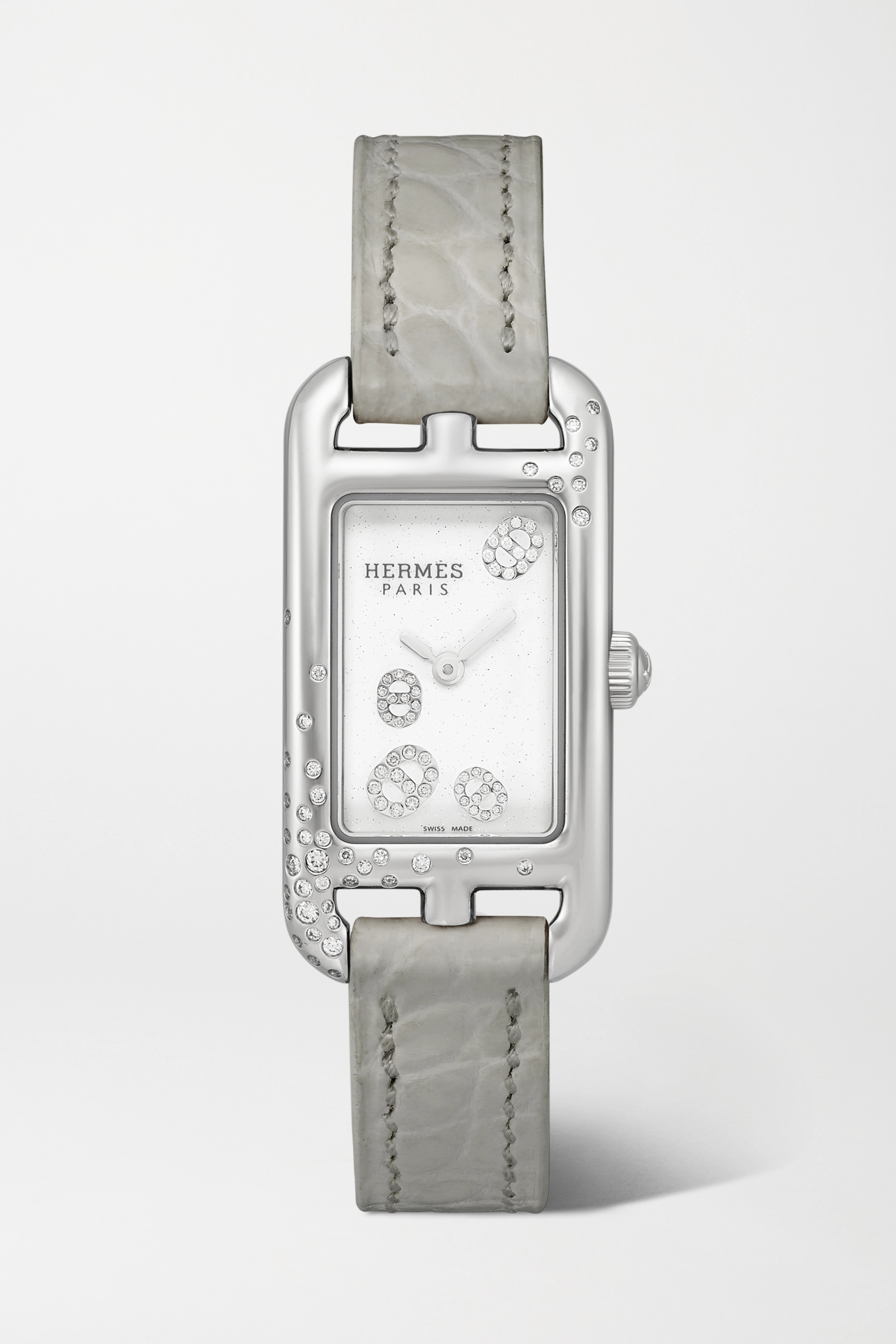 Hermès Timepieces Nantucket 17mm very small stainless steel, alligator and diamond watch