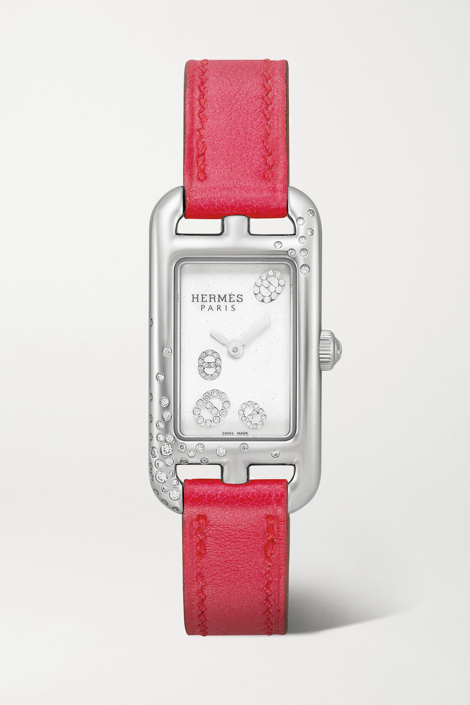 Hermès Timepieces Nantucket 17mm very small stainless steel, leather and diamond watch