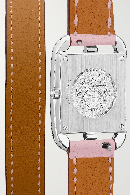 Hermès Timepieces Cape Cod Double Tour 23 mm kleine Uhr aus Edelstahl mit Perlmutt, Saphiren, Diamanten und Lederarmband