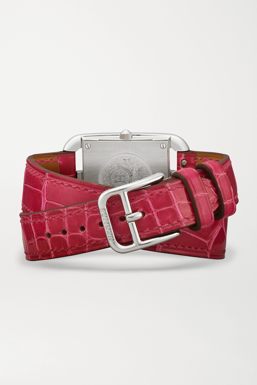 Hermès Timepieces Cape Cod Double Tour 23 mm kleine Uhr aus Edelstahl mit Perlmutt, Diamanten und Alligatorlederarmband