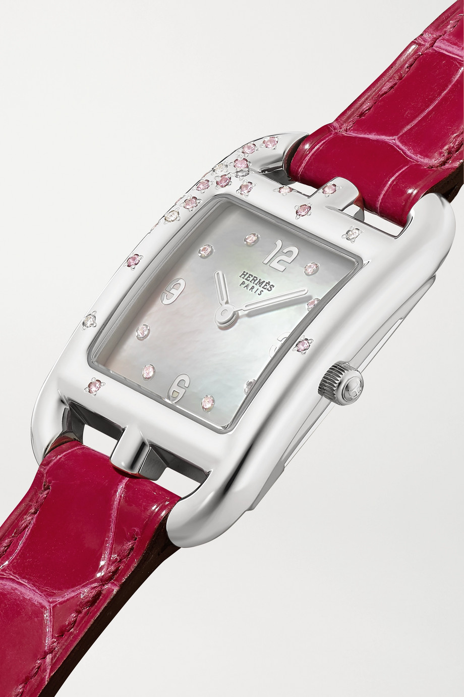 Hermès Timepieces Cape Cod Double Tour 23mm small stainless steel, alligator, mother-of-pearl and diamond watch