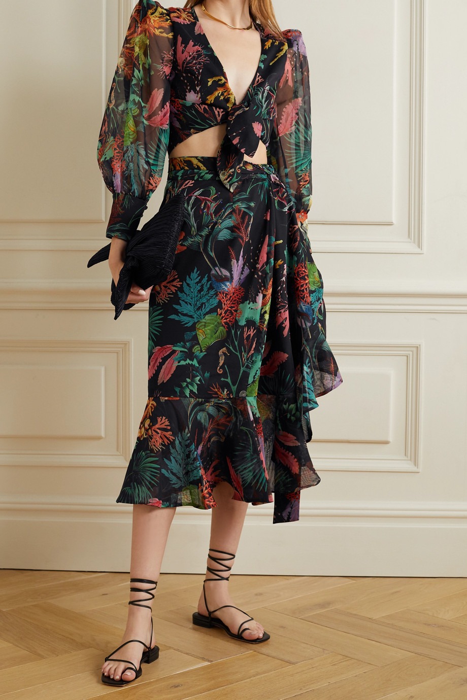 PatBO Oasis cropped tie-front printed chiffon blouse