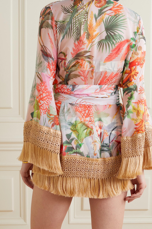 PatBO Oasis fringed printed chiffon robe