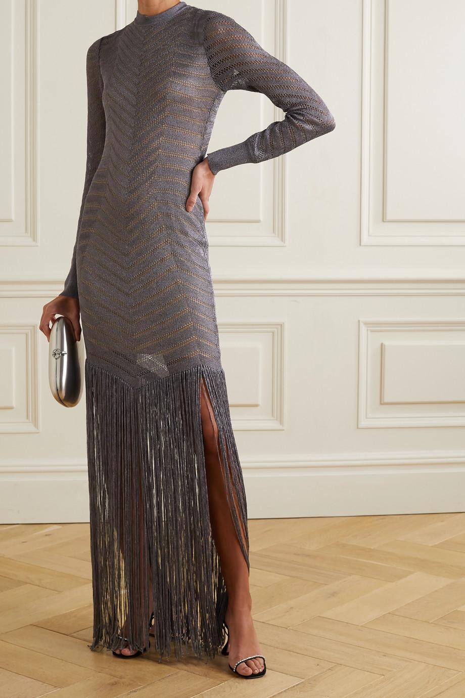 Hervé Léger Fringed metallic crochet-knit gown