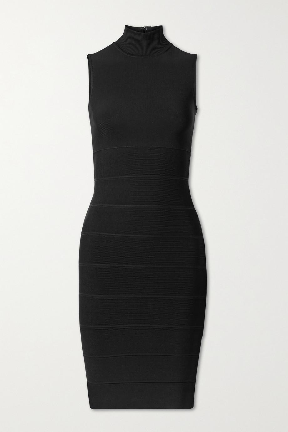 Hervé Léger Icon bandage turtleneck dress