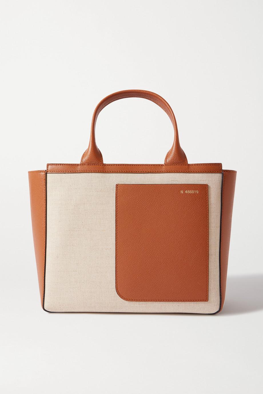 Valextra Sac à main en toile et en cuir texturé Shopping Mini