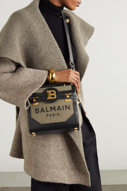 Balmain B-Buzz 23 leather-trimmed printed canvas shoulder bag