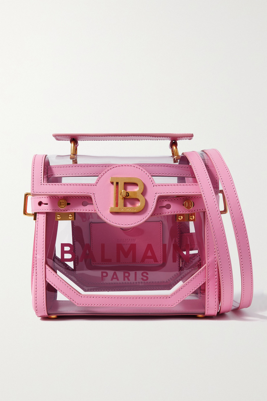 Balmain B-Buzz 23 leather and printed PVC shoulder bag
