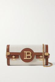 Balmain B-Buzz 23 leather-trimmed canvas shoulder bag
