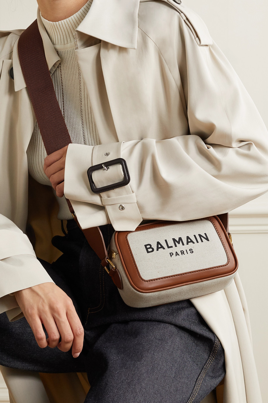Balmain B-Army leather-trimmed printed canvas shoulder bag