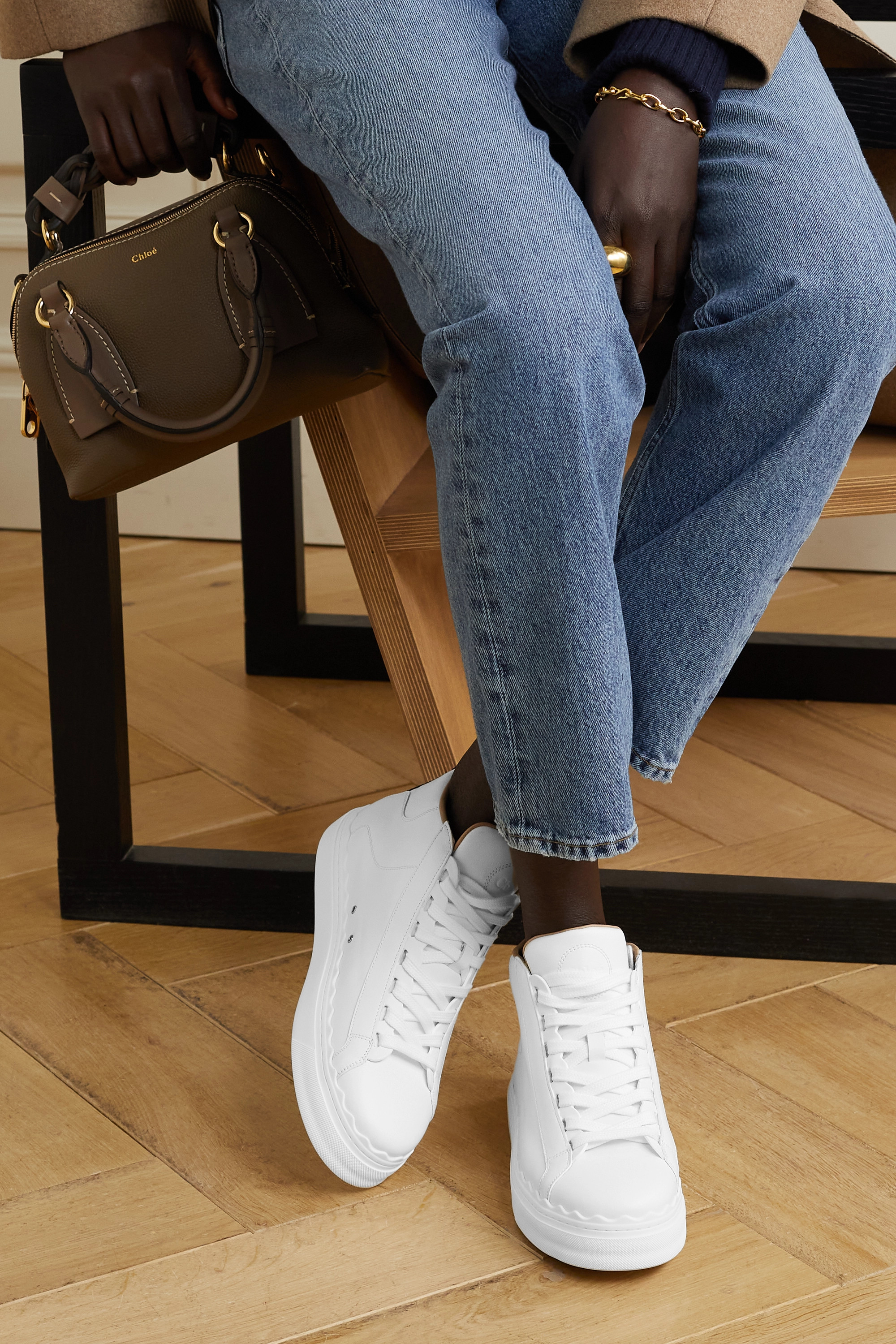 Chloé Lauren scalloped leather high-top sneakers