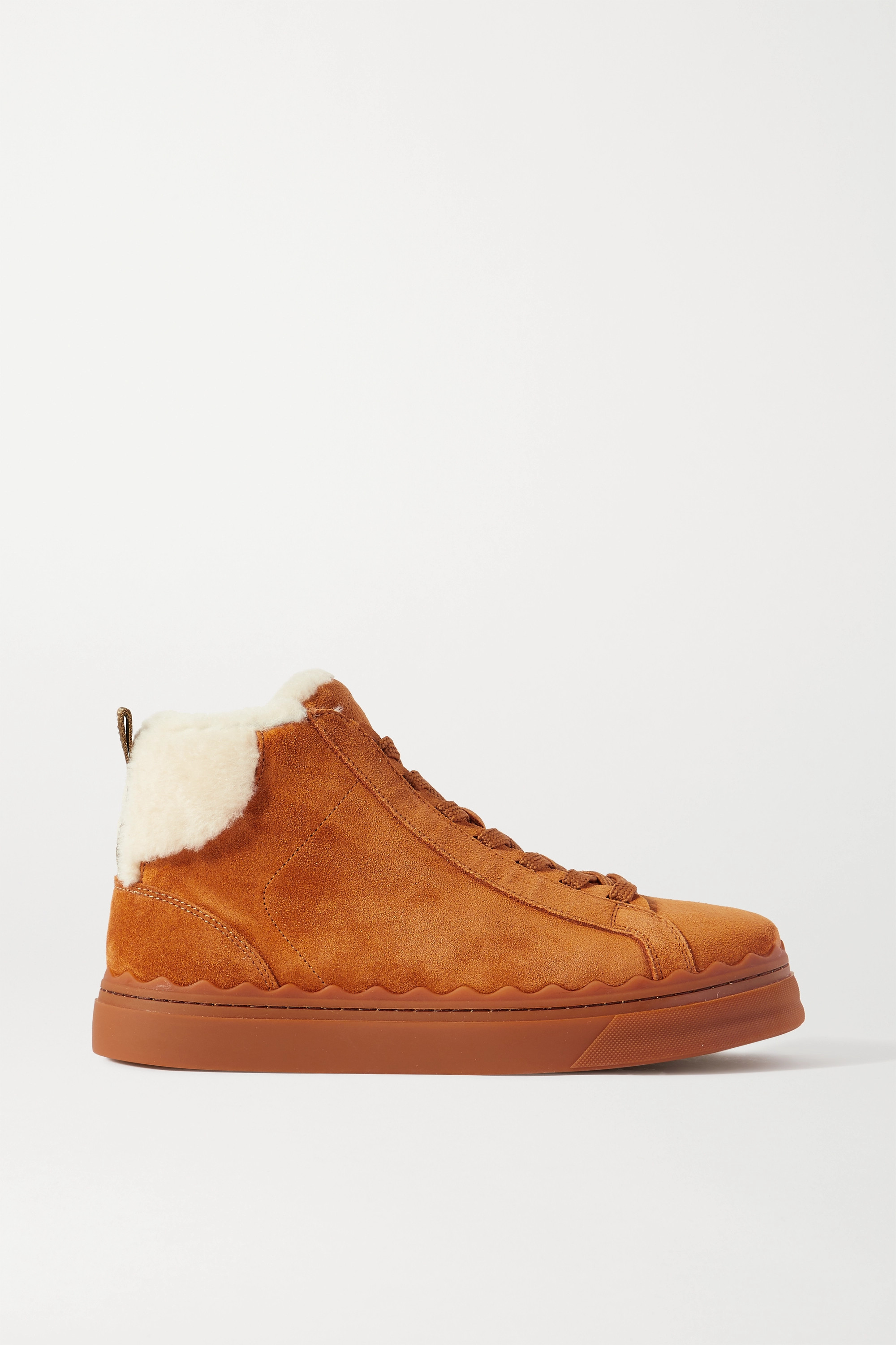 Chloé Lauren shearling-lined scalloped suede high-top sneakers