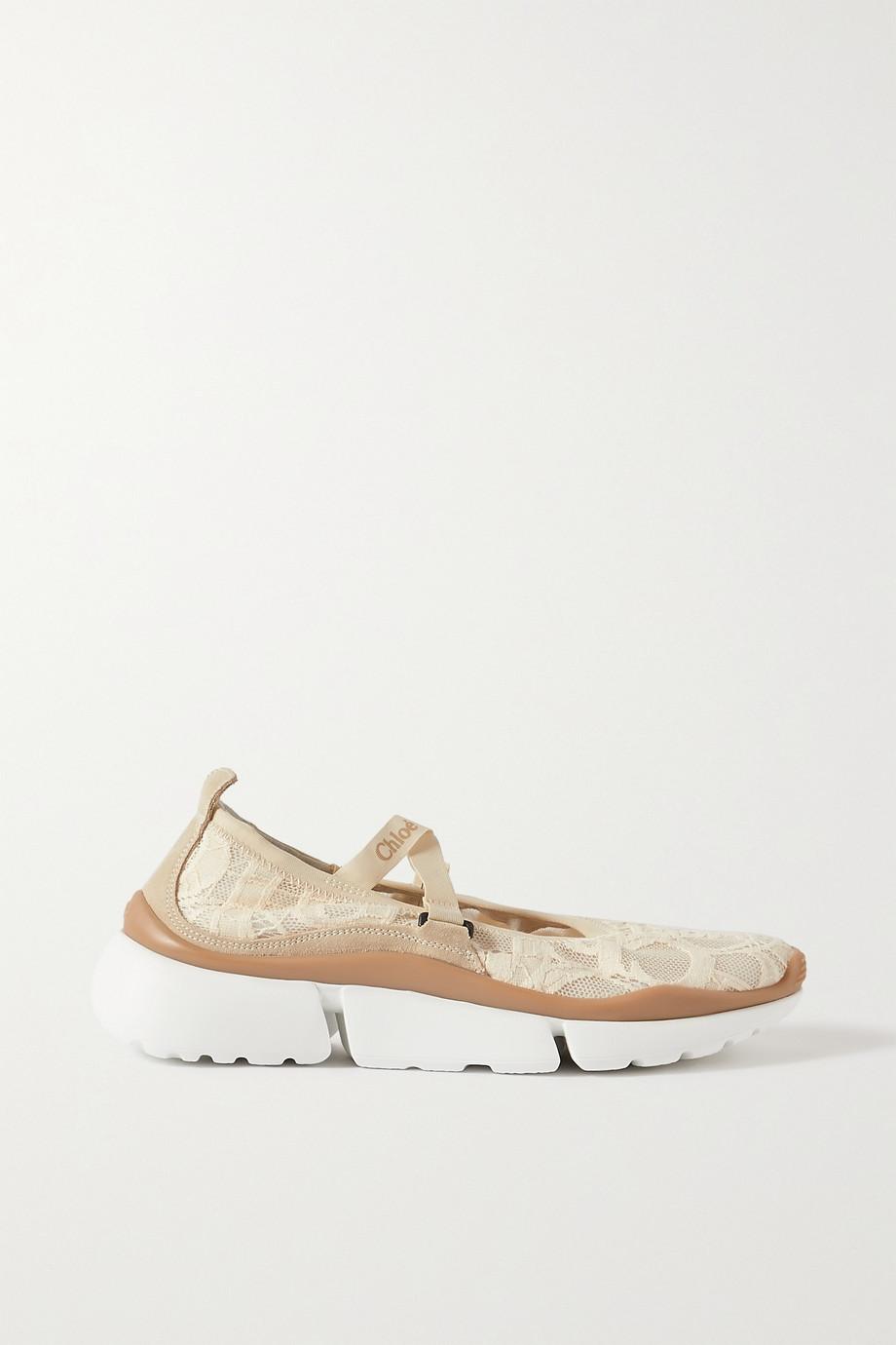 Chloé Sonnie Ballerinas aus Spitze mit Velourslederbesätzen und Plateau