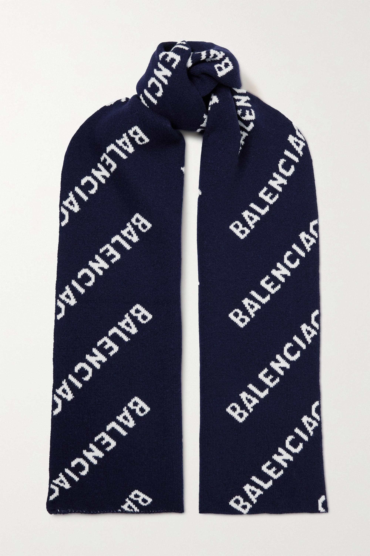 Balenciaga Intarsia wool-blend scarf