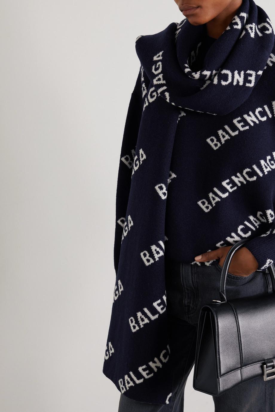 Balenciaga Schal aus einer Wollmischung mit Intarsienmuster