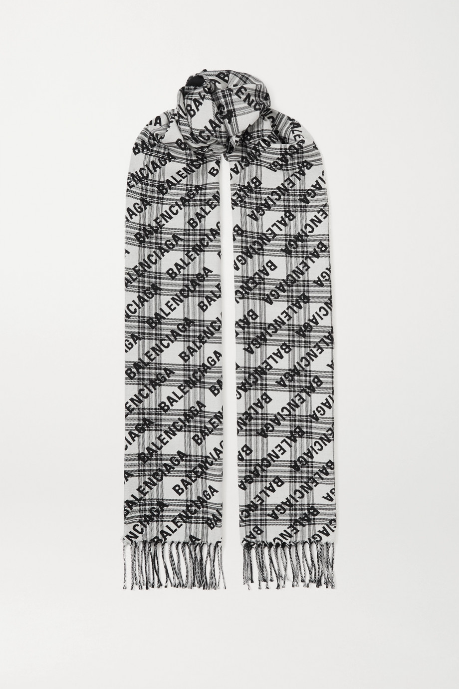 Balenciaga Fringed checked wool-jacquard scarf