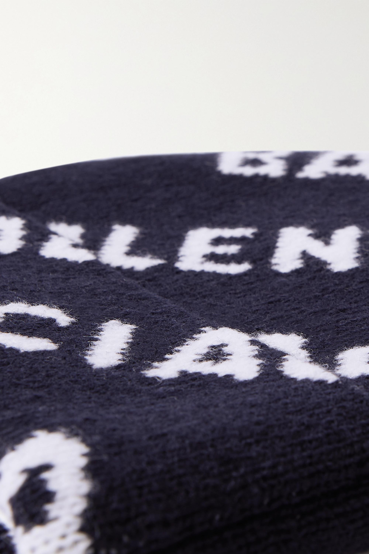Balenciaga Beanie aus einer Wollmischung mit Intarsienmuster