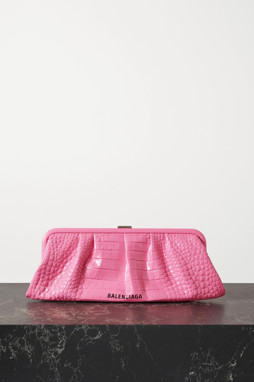 Balenciaga Cloud XL printed croc-effect leather clutch