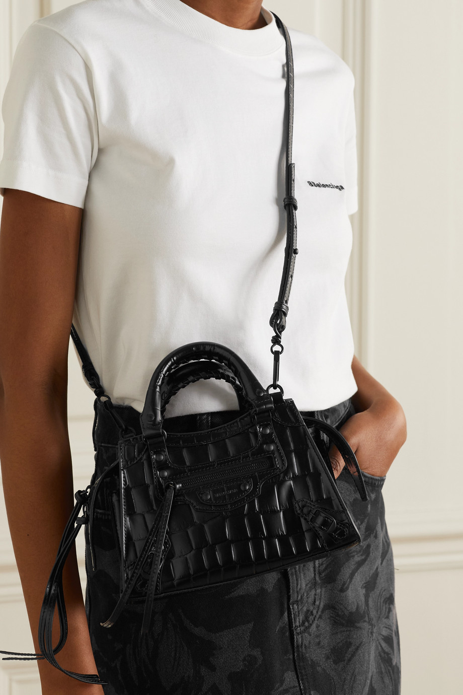 Balenciaga Neo Classic City mini croc-effect leather tote
