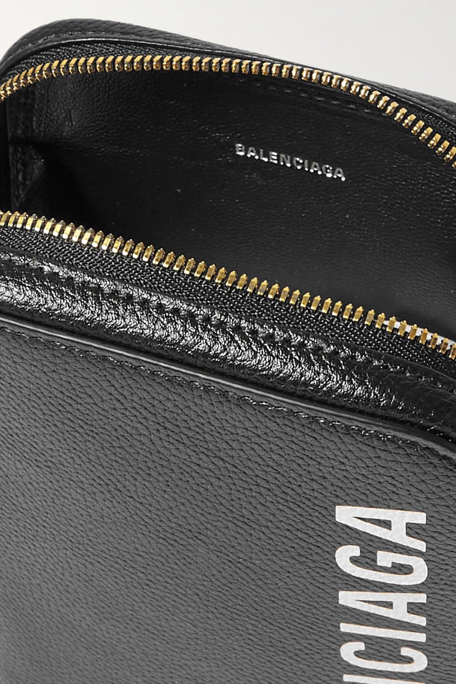 Balenciaga Cash textured-leather phone case