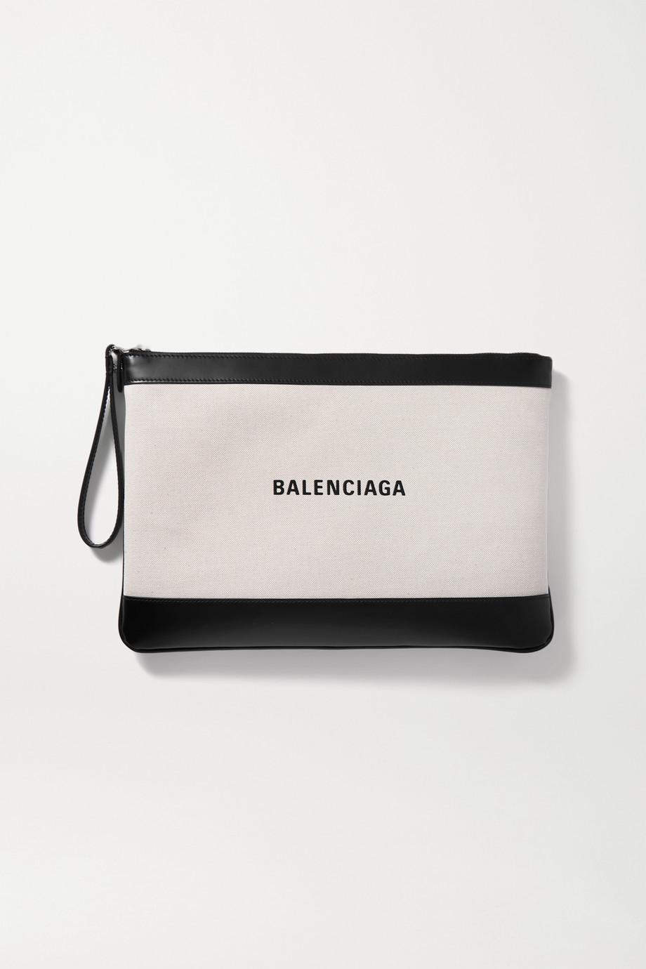 Balenciaga Beutel aus Canvas mit Lederbesätzen und Print