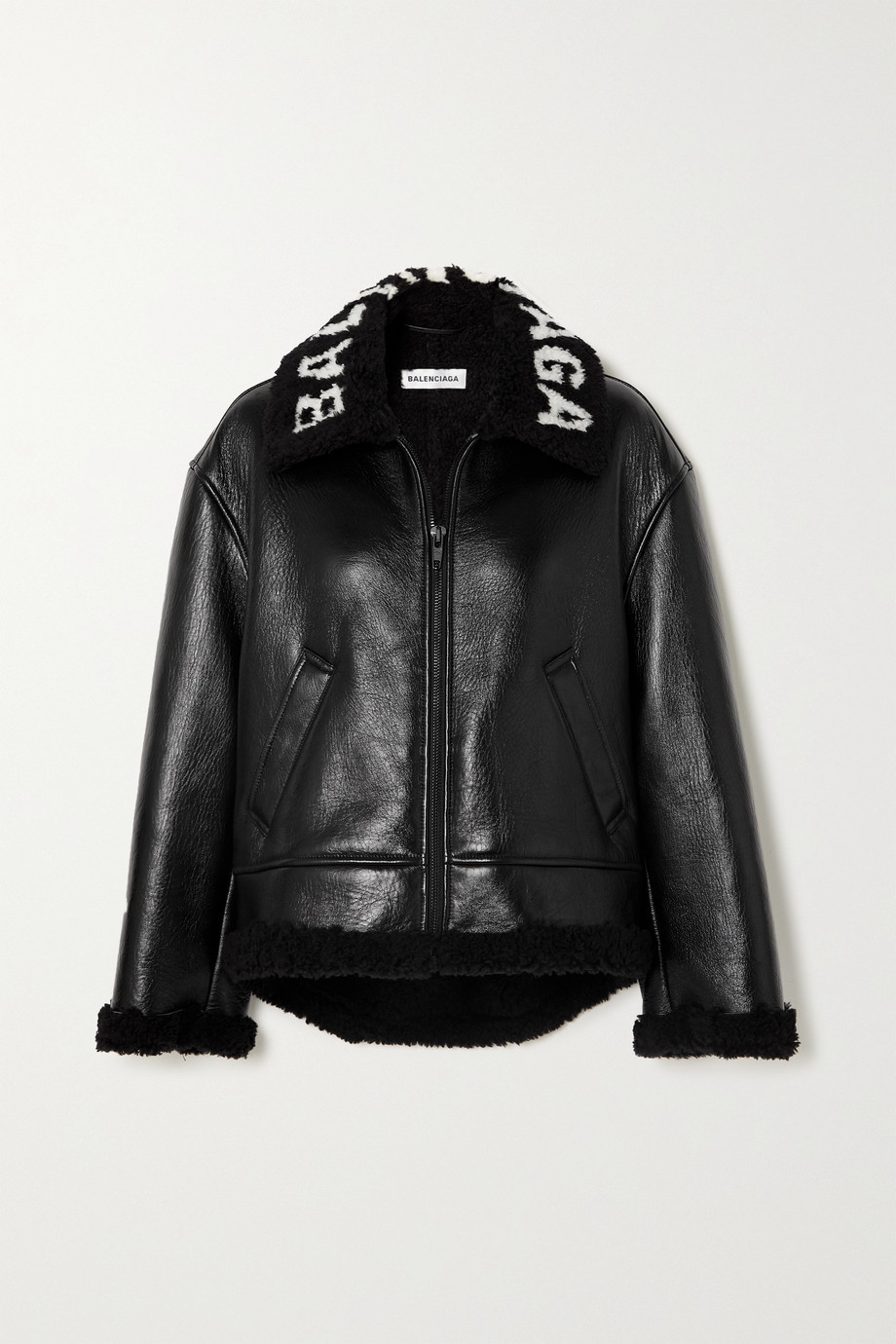 Balenciaga Cropped faux shearling-lined leather jacket