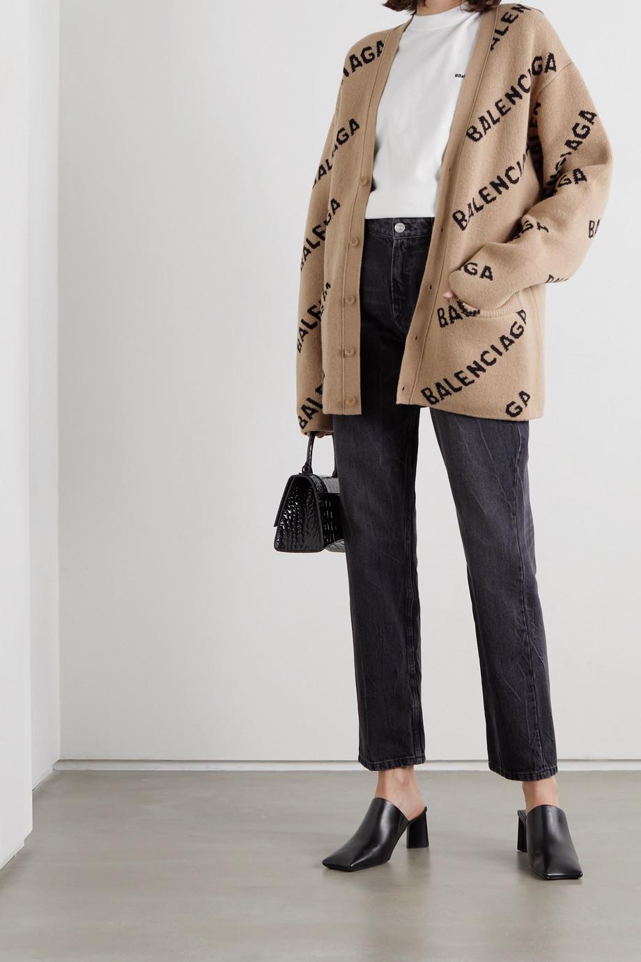 Balenciaga Cardigan aus einer Woll-Baumwollmischung mit Intarsienmuster