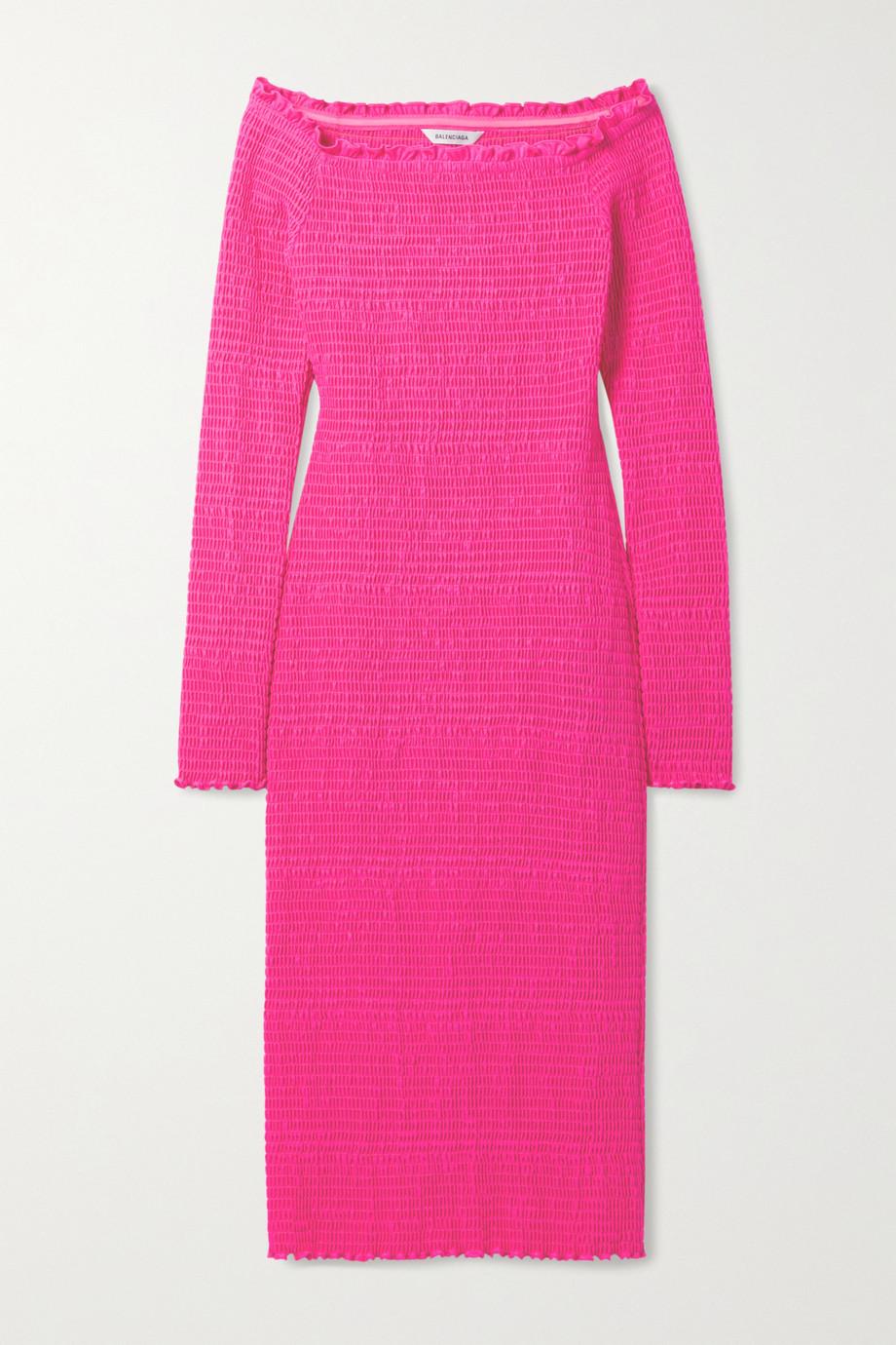 Balenciaga Off-the-shoulder smocked stretch-jersey midi dress