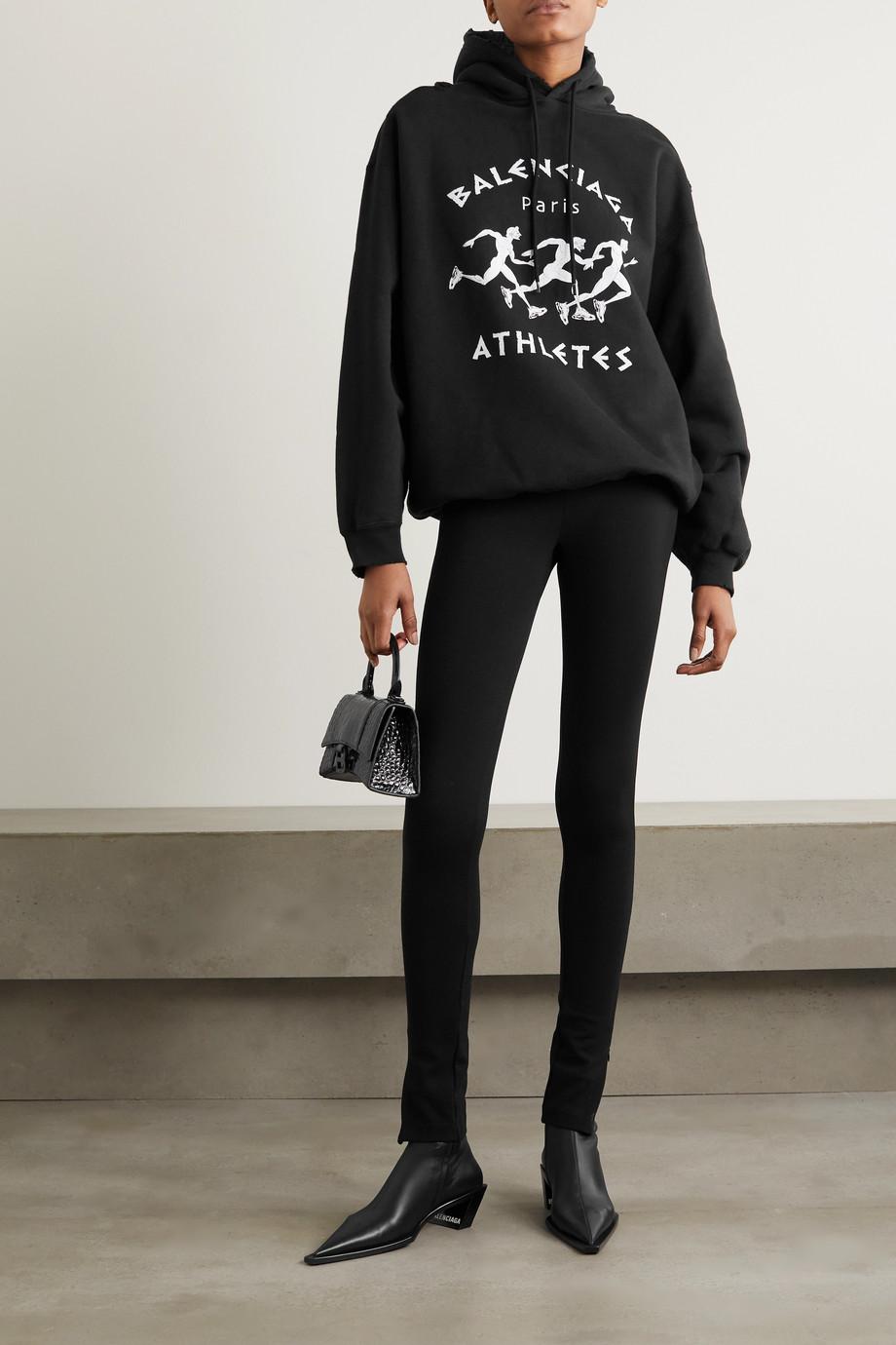Balenciaga Sweat à capuche oversize en jersey de coton imprimé effet vieilli
