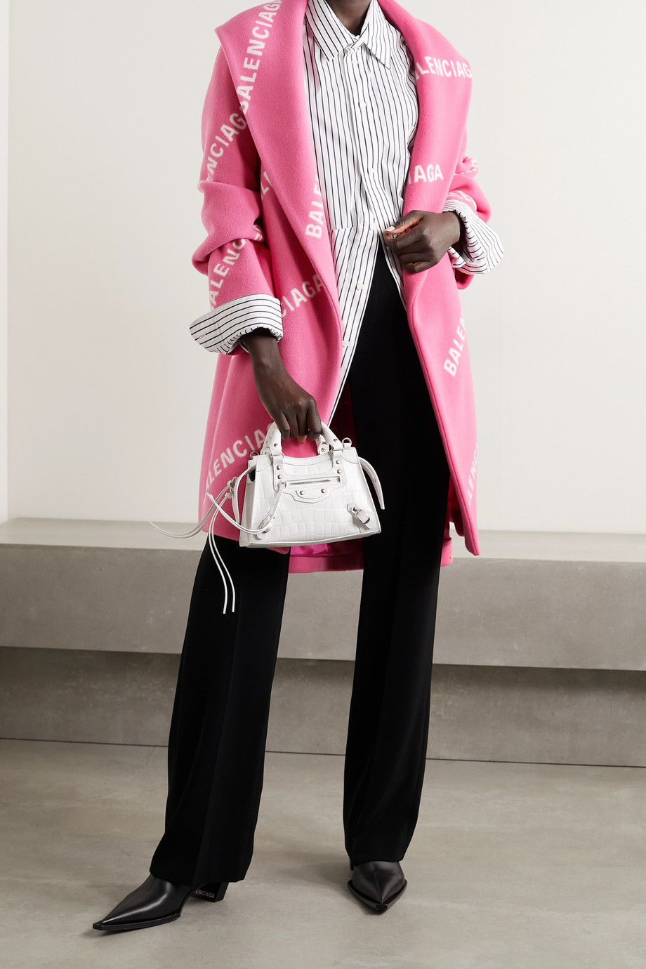 Balenciaga Oversized belted printed wool, cashmere and silk-blend coat