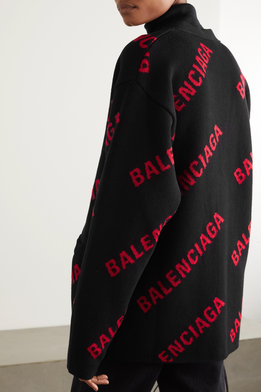 Balenciaga Cardigan oversize en coton mélangé intarsia