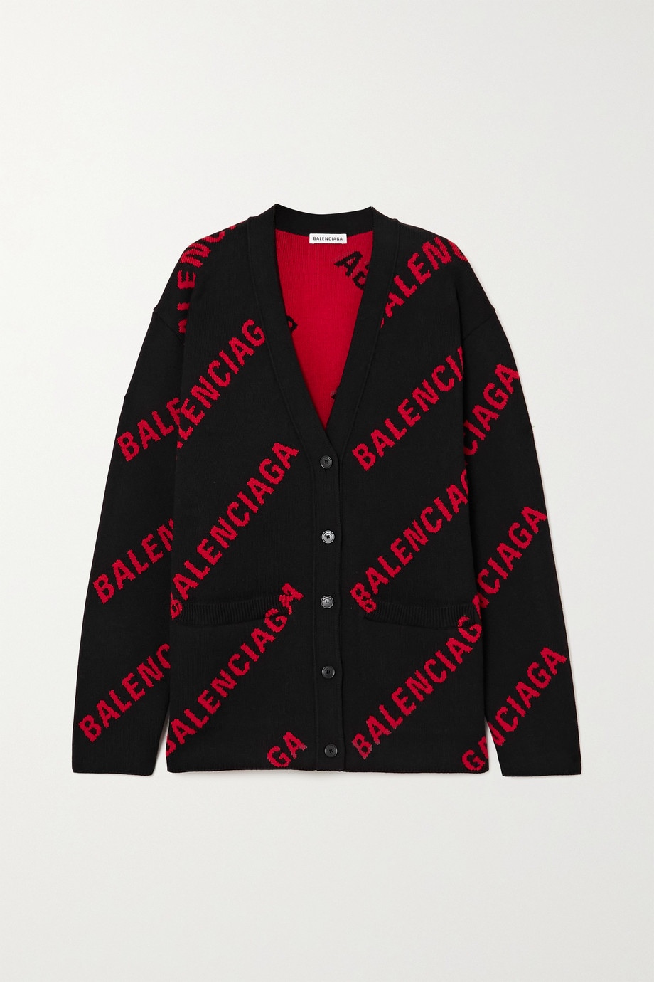 Balenciaga Oversized intarsia cotton-blend cardigan