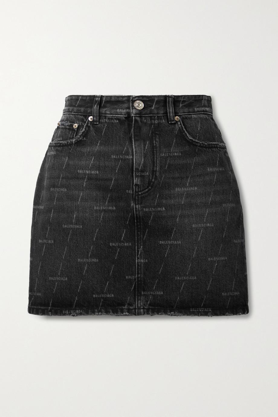 Balenciaga Mini-jupe en jean imprimé