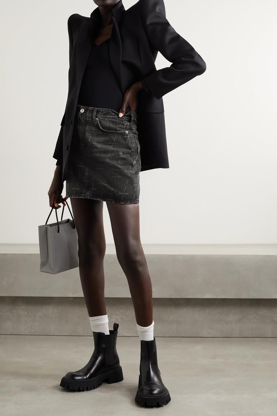 Balenciaga Printed denim mini skirt
