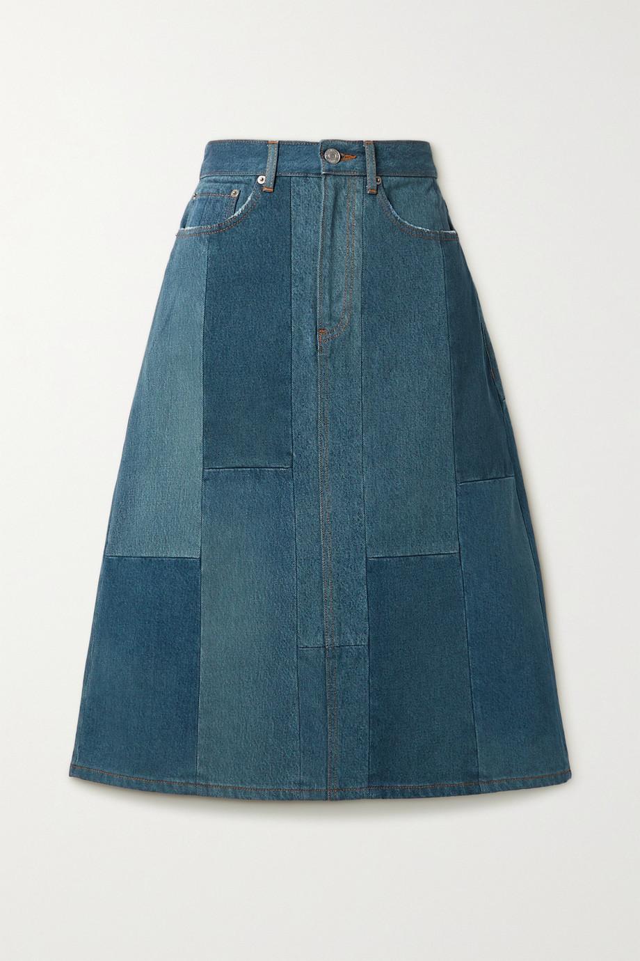 Balenciaga Patchwork denim midi skirt