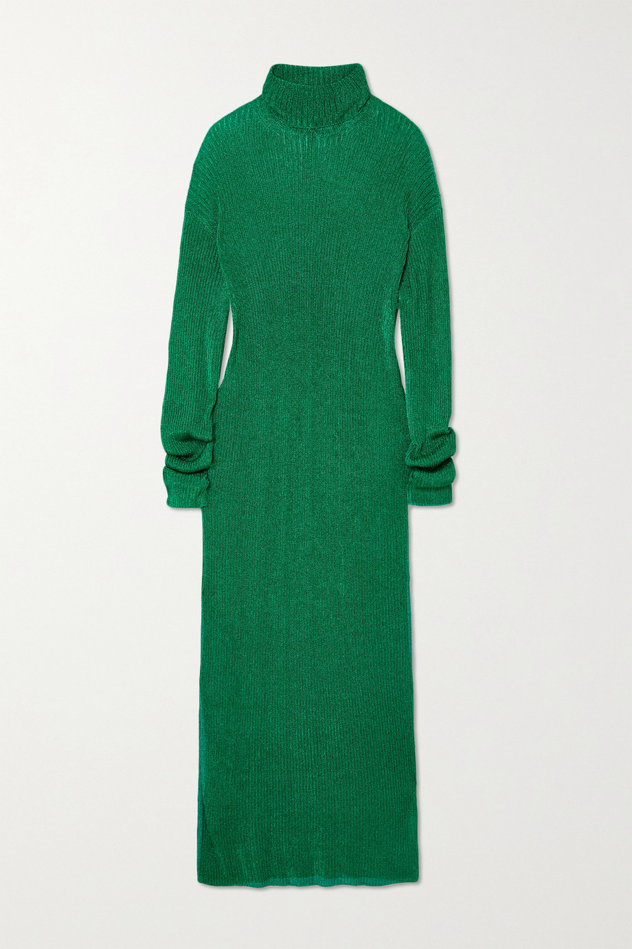 Balenciaga Metallic ribbed-knit turtleneck midi dress