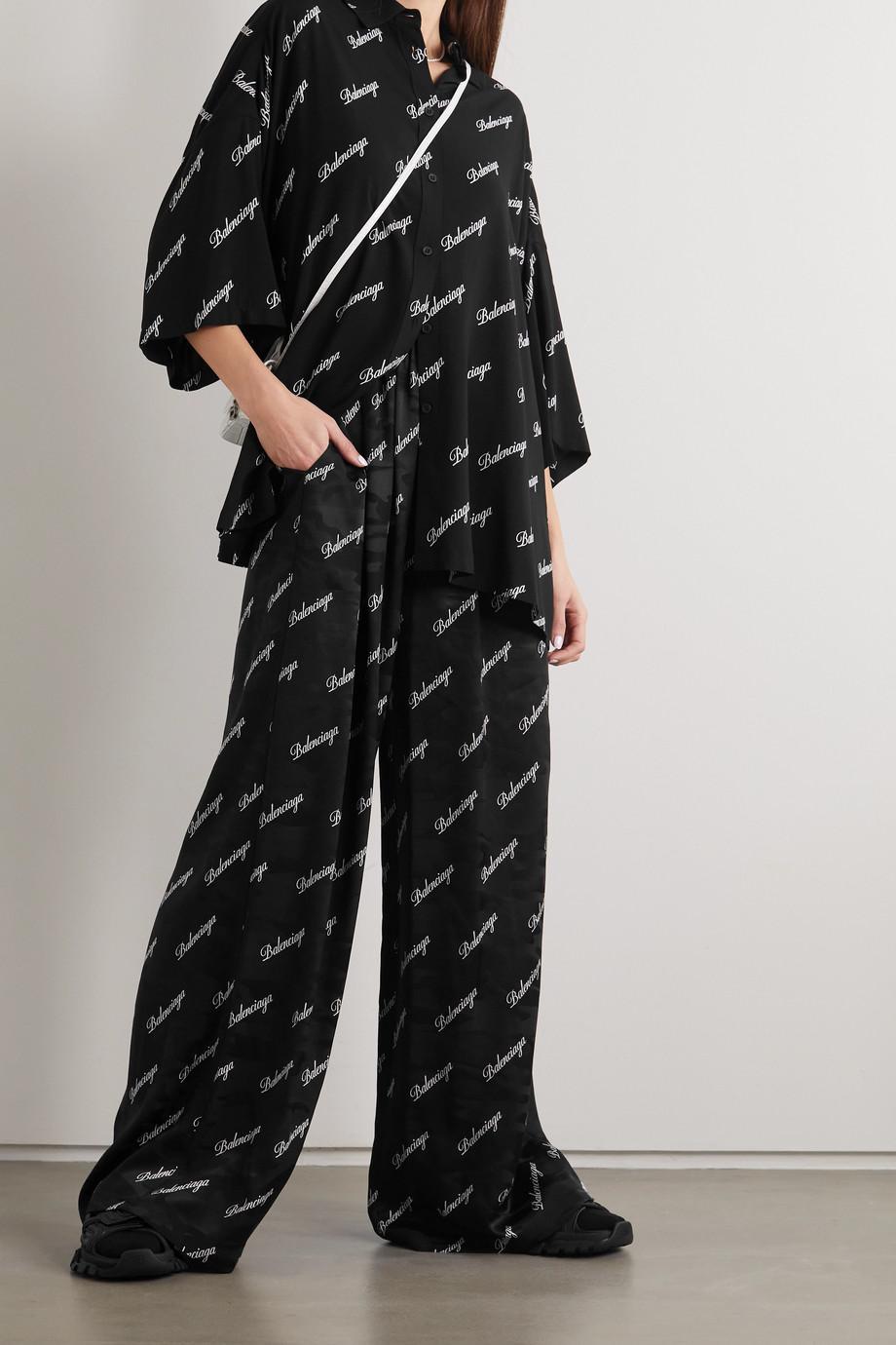 Balenciaga Printed silk-jacquard wide-leg pants
