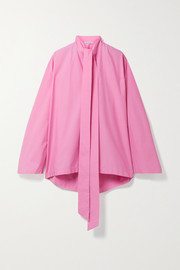 Balenciaga Oversized tie-neck cotton-poplin blouse