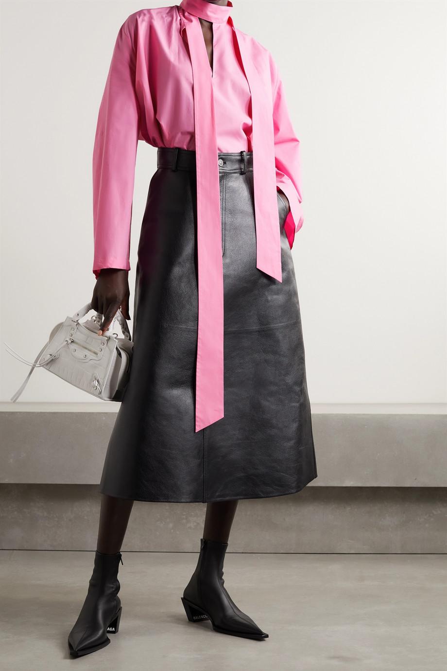 Balenciaga Oversized tie-neck cotton-poplin blouse