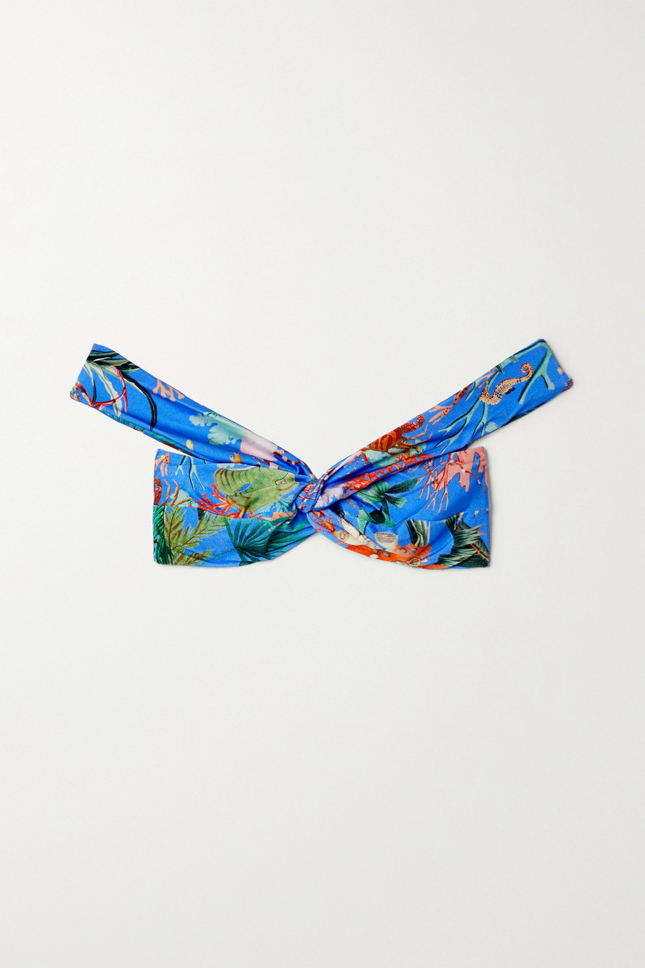 PatBO Oasis off-the-shoulder printed bikini top
