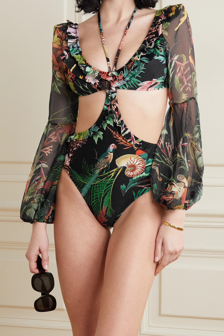 PatBO Oasis cutout chiffon-trimmed printed halterneck swimsuit