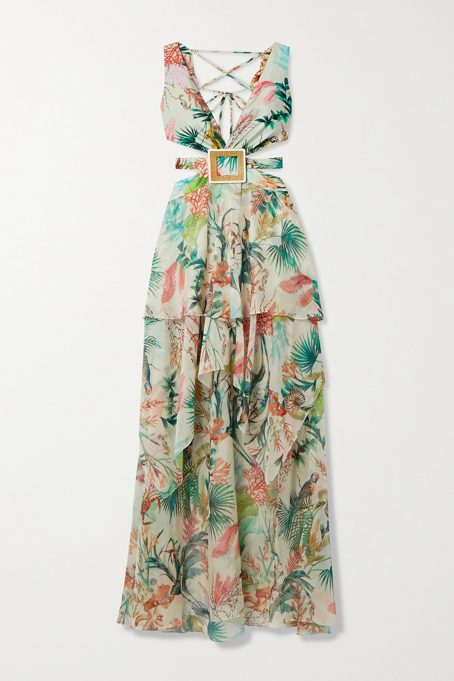 PatBO Oasis cutout ruffled printed chiffon and stretch-jersey maxi dress