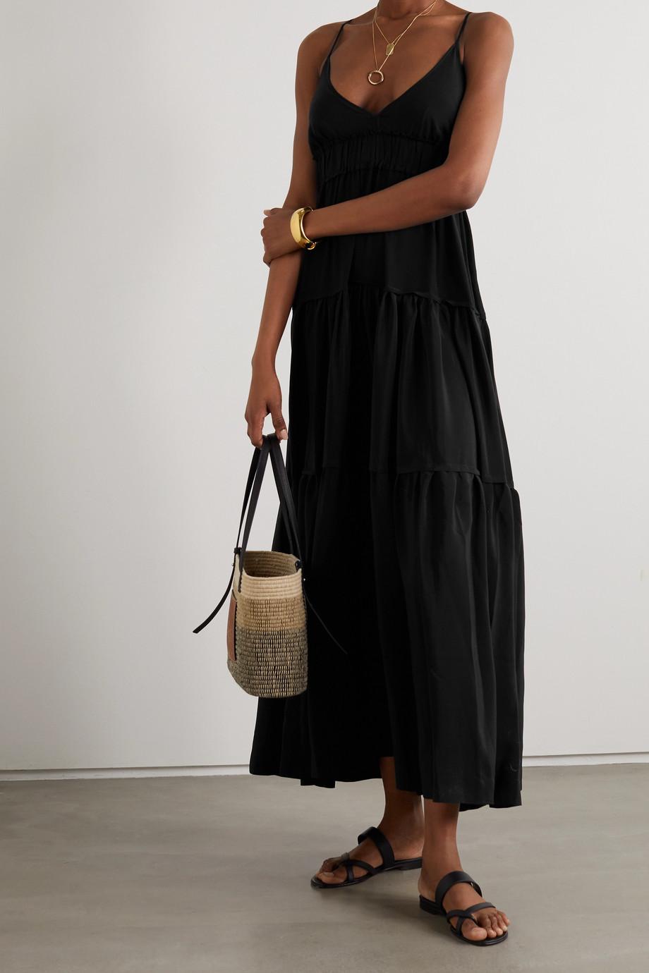 Three Graces London Chloe open-back tiered silk crepe de chine maxi dress