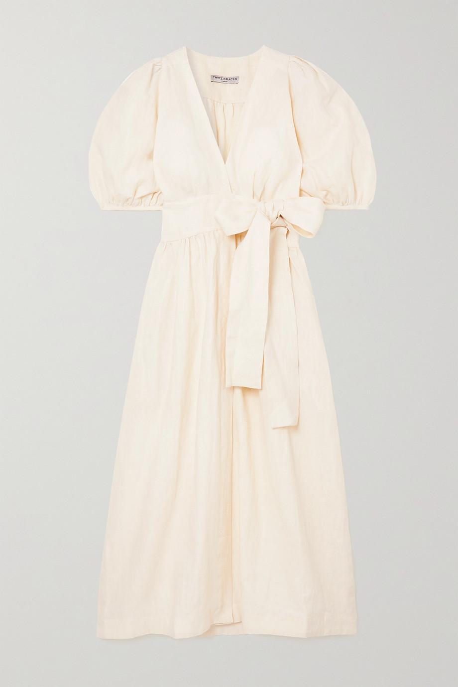 Three Graces London Fiona Midi-Wickelkleid aus Leinen