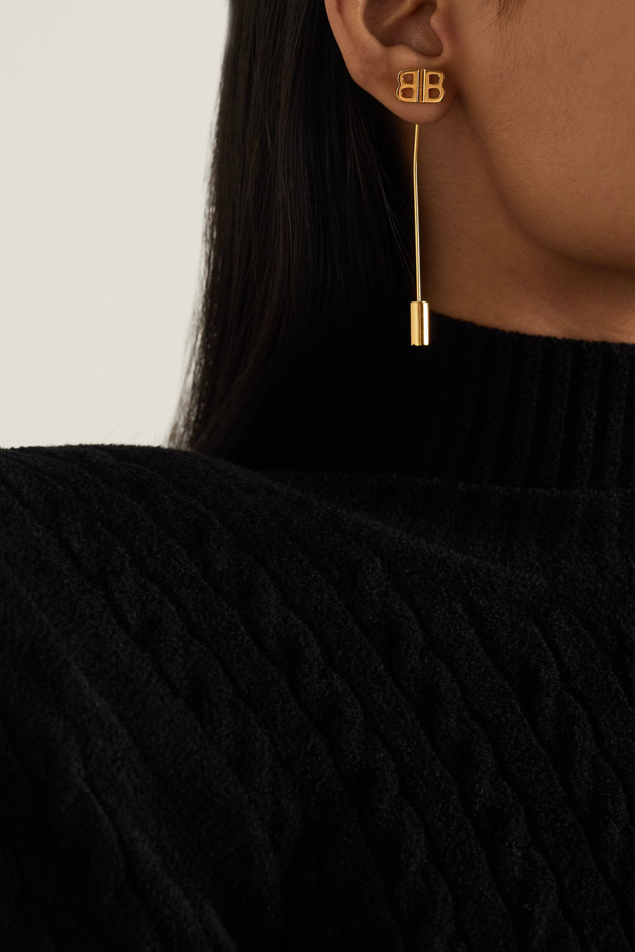 Balenciaga Pin BB gold-tone earrings